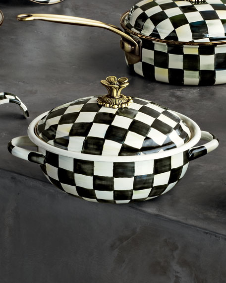MacKenzie-Childs Courtly Check 2.5-Quart Enamel Casserbole