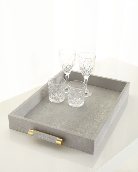 Image 1 of 2: AERIN Classic Dove Faux-Shagreen Serving Tray