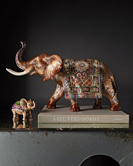 Image 2 of 3: Tapestry Large Elephant Figurine