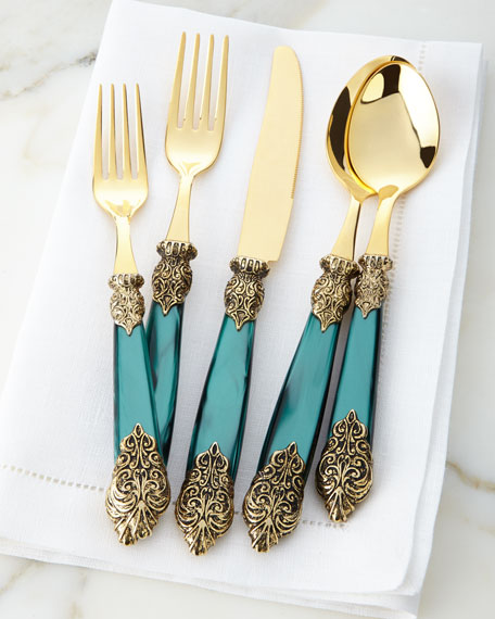 Image 5 of 5: Neiman Marcus 20-Piece Antiqued-Gold Versaille Flatware Service