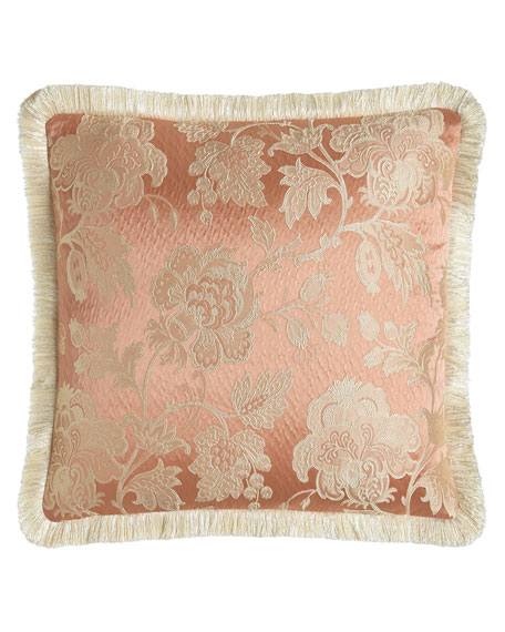 "Austin Horn Collection Primrose Pillow with Fringe, 20""Sq."