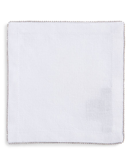 Michael Aram Silver-Beaded Cocktail Napkin