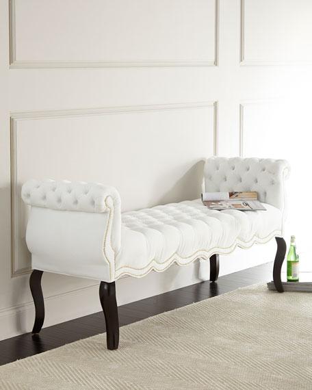 Haute House White Rebecca Tufted Bench