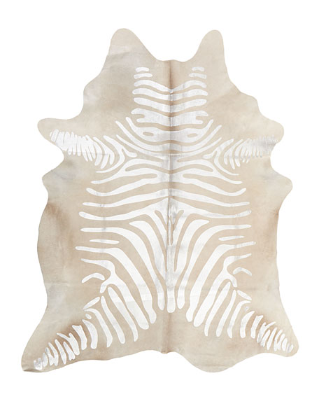 NourCouture Tali Silver Zebra Rug, 5' x 7'