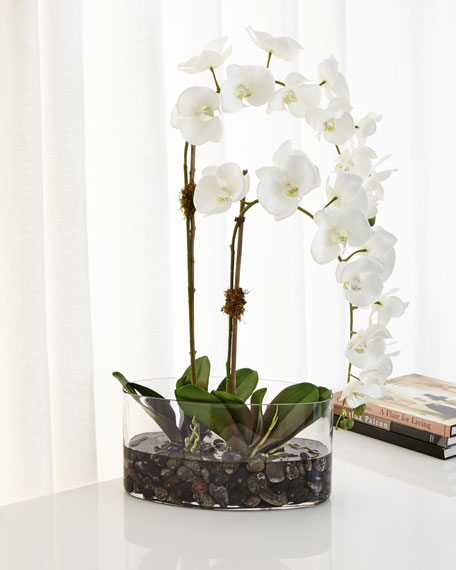 NDI Orchids in Glass Faux-Floral Arrangement