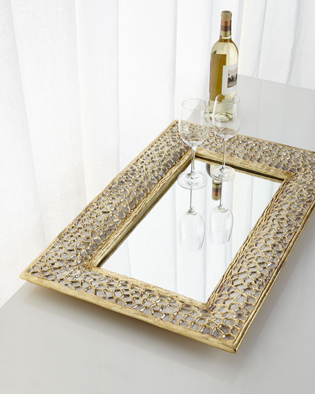 John-Richard Collection Gold & Silver Organic Mirrored Tray