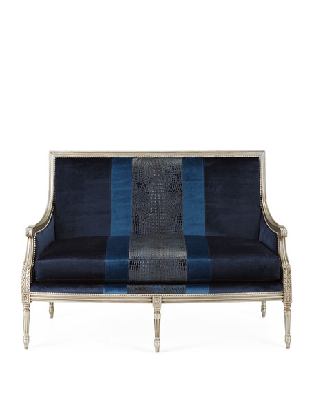 Lilah Navy Colorblock Settee