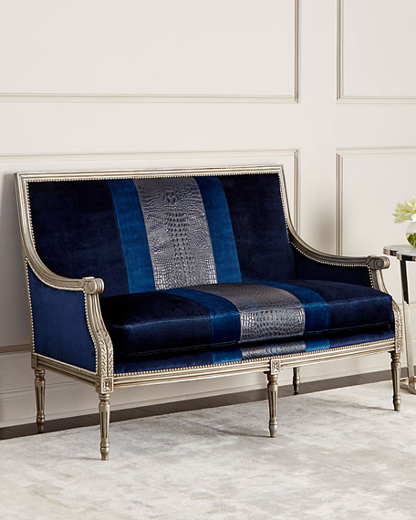 Massoud Lilah Navy Colorblock Settee
