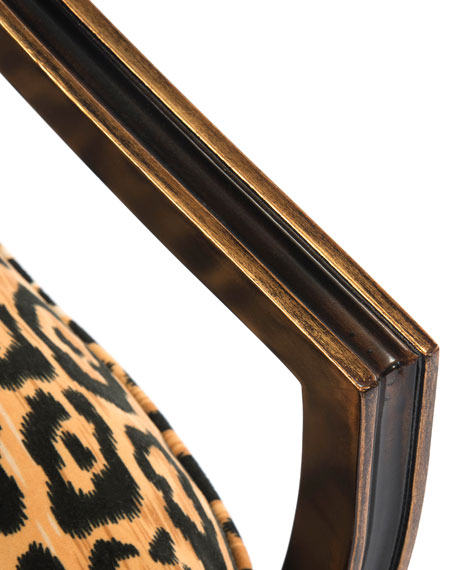 John-Richard Collection Macayla Mirrored Leopard-Print Armchair