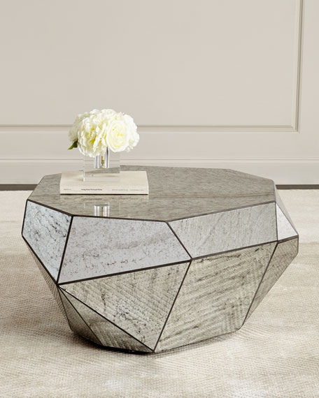 Low Square Mirrored Coffee Table: Dimensional Antiqued-Mirror Coffee Table