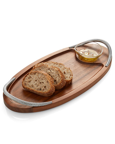Nambe Braid Serving Board with Dipping Dish