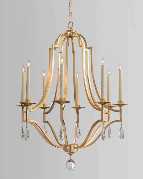 John-Richard Collection Gold Leaf & Crystal 8-Light Chandelier
