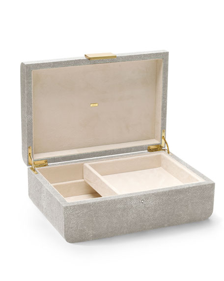 AERIN Modern Large Embossed Faux-Shagreen Jewelry Box