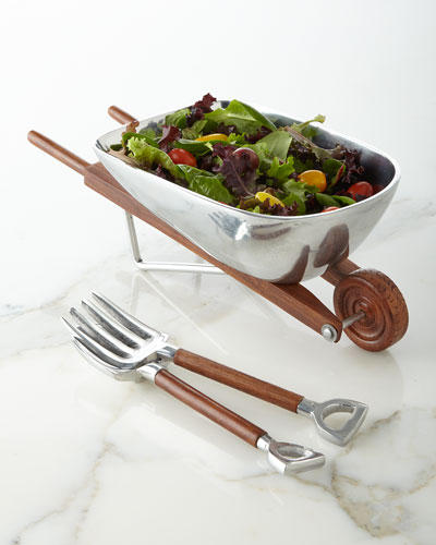 Wheelbarrow Salad Bowl with Servers