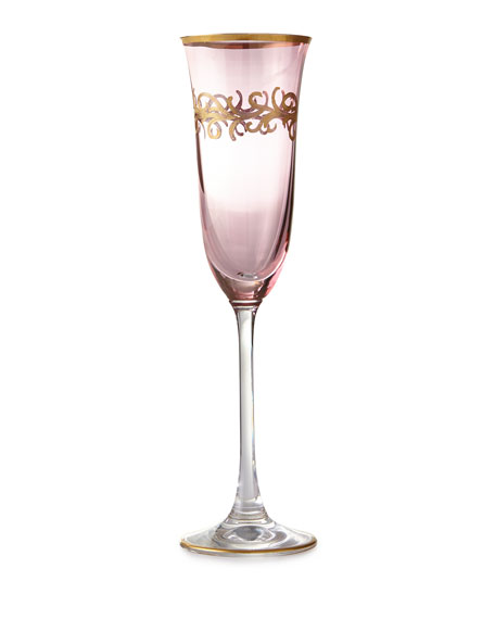Neiman Marcus Blush Oro Bello Champagne Flutes, Set of 4