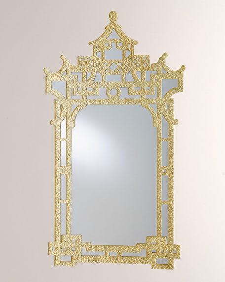 Global Views Asian-Inspired Mirror, Gold