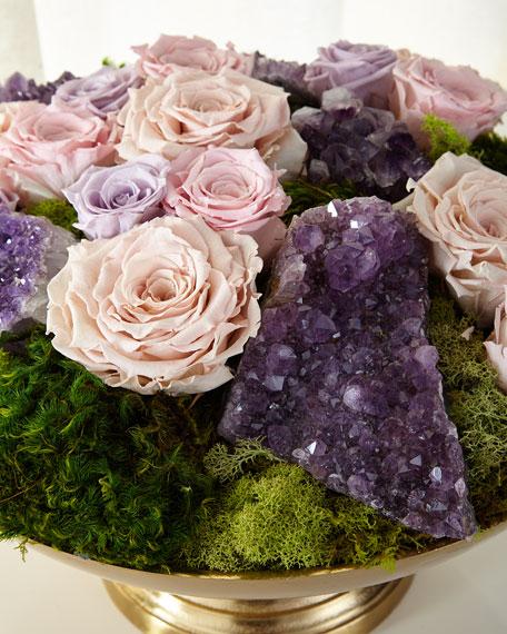 T&C Floral Company Preserved Roses in Golden Urn