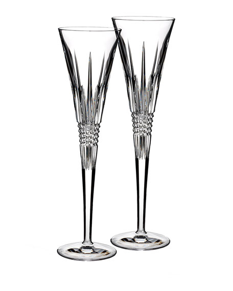 Waterford Crystal Set of Two Lismore Diamond Flutes