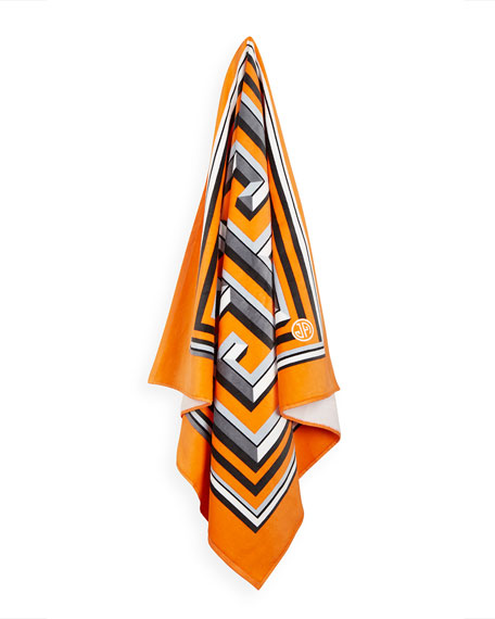 Greek Key Beach Towel, Orange