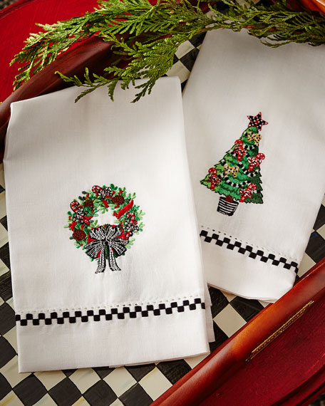 MacKenzie-Childs Christmas Greens Guest Towels, Set of 2