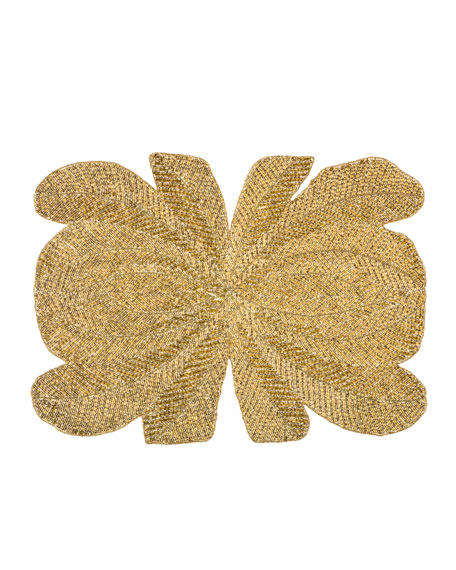 Peacock Hand-Beaded Placemat, Gold