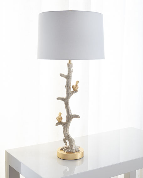 Gold Bird & Capiz Dust Buffet Lamp
