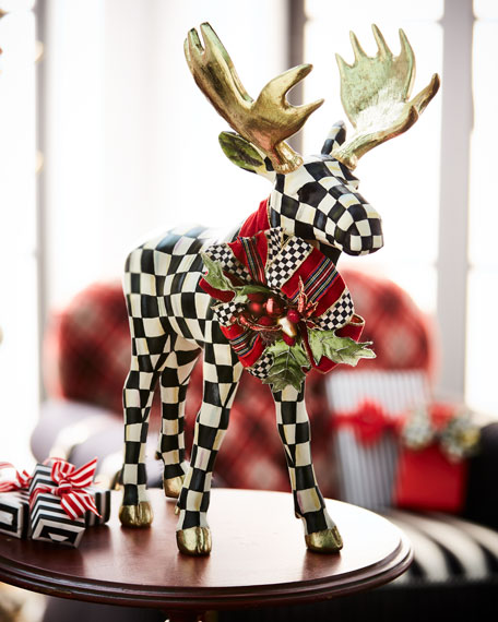 Courtly Check Standing Moose Figurine