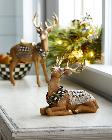 MacKenzie-Childs Resting Tawny Stag Figurine and Matching Items