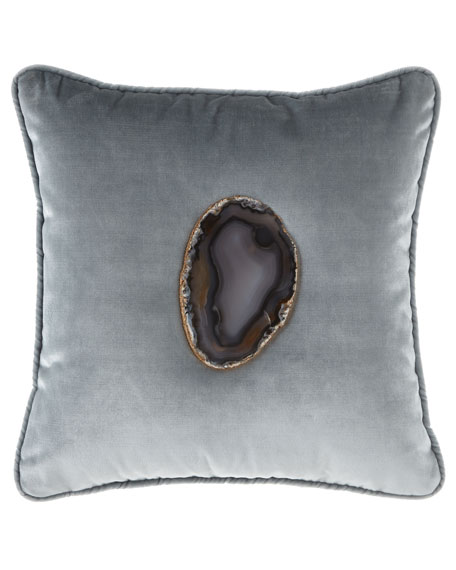6009 Parker Mist Agate Geode Velvet Pillow and