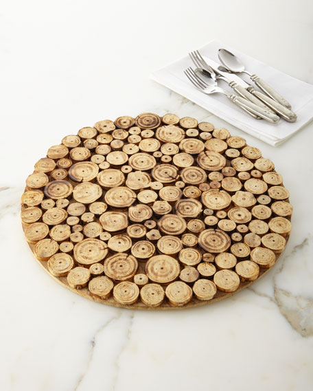Image 1 of 4: Round Natural Sliced Wood Charger Plate