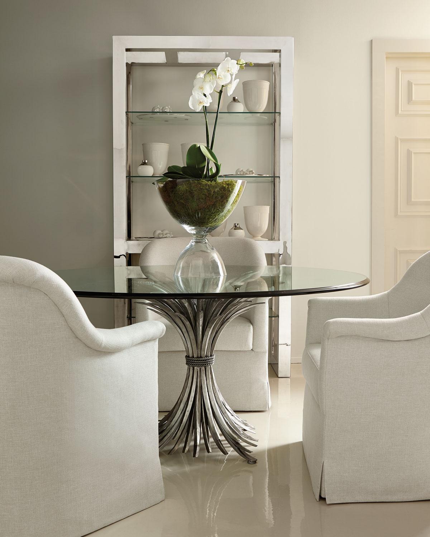 "Upscale Dining Room Furniture: Bernhardt Gwinn 54"" Glass-Top Dining Table"