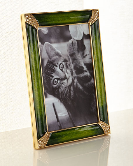 "Leland Pave Corner Picture Frame, Emerald, 4"" x 6"""