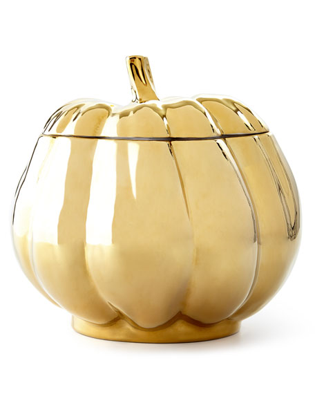 Neiman Marcus Large Pumpkin Serving Bowl with Lid