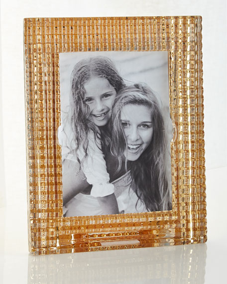 """Baccarat Eye Crystal Picture Frame, Gold - 5"""" x 7"""""""