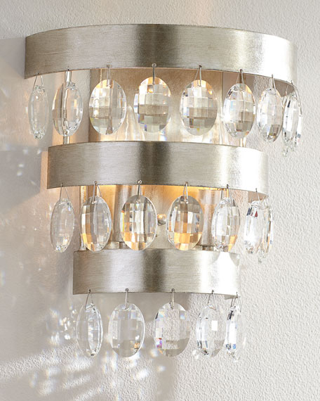Image 2 of 2: Crystorama Perla 2-Light Antiqued Silver Sconce