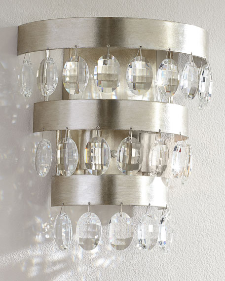 Image 1 of 2: Crystorama Perla 2-Light Antiqued Silver Sconce