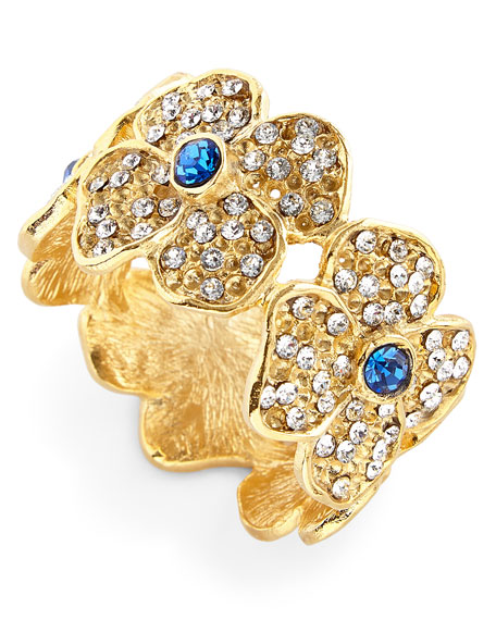 Nomi K Daisy Flower Napkin Rings with Blue Crystal Center, Set of 4