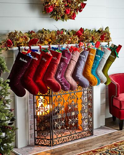 Velvet Christmas Stocking, Personalized