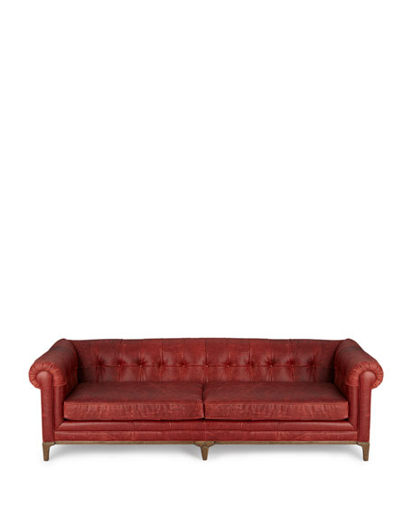 Maurice Tufted Leather Sofa 95""