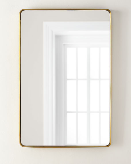 Image 1 of 2: Stainless Steel Curved Rectangle Mirror