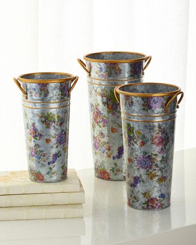 Flower Market Flower Buckets  Set of 3