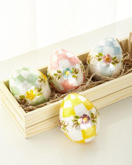 MacKenzie-Childs Pastel Medium Floral Eggs, Set of 4