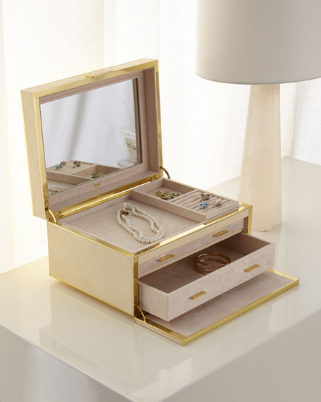 AERIN Luxe Faux-Shagreen Jewelry Box, Cream