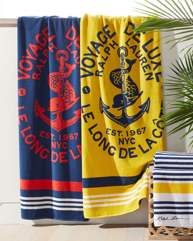 Ralph Lauren Mens Beach Towel: Ralph Lauren Home Kacie Beach Towel With Crest