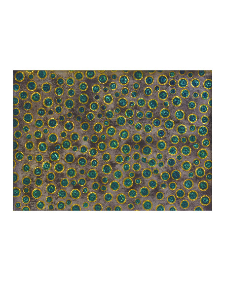 Nomi K Green Bubble Glass Painted Mirror Placemat