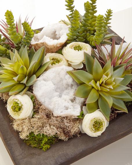 T&C Floral Company Silk Succulents and Quartz Arrangement