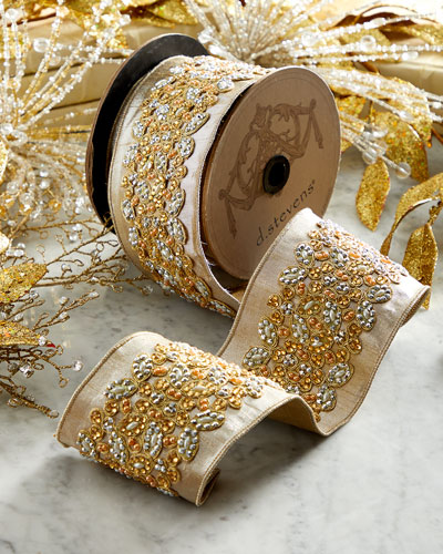 Faux-Metallic Doupioni Jeweled Ribbon
