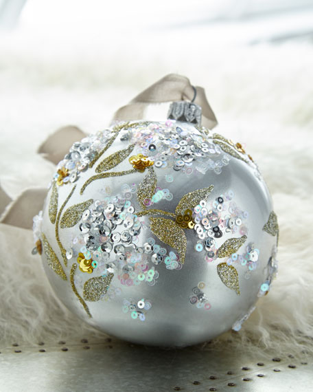 Silver Metallic Glass Ball Christmas Ornament W/ White Pastel Sequins & Gold Glitter