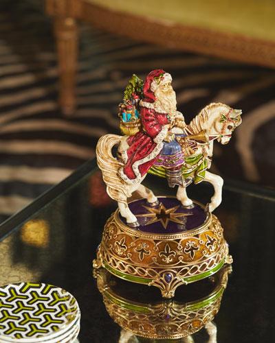 Santa Equestrian Musical Figurine