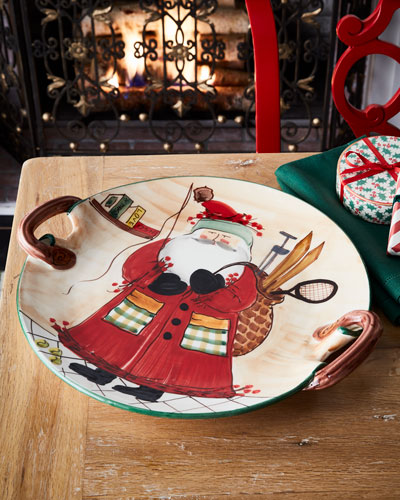 Old St. Nick Sports Santa Round Handled Platter